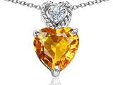 Tommaso Design 8mm Heart Shape Genuine Citrine and Diamond Pendant
