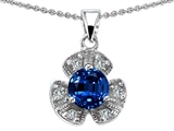 Original Star K Flower Pendant With Round 6mm Created Sapphire