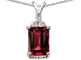 Original Star K™ Large 14x10mm Emerald Cut Created Ruby Pendant