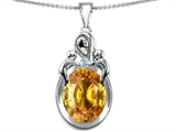 Original Star K™ Loving Mother With Twin Children Pendant With Oval 11x9mm Simulated Citrine