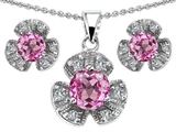 Original Star K Created Pink Sapphire Flower Pendant Box Set With Matching Earrings