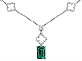 Original Star K™ Emerald Cut Simulated Emerald Necklace
