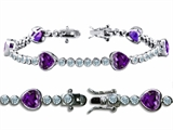 Original Star K™ High End Tennis Bracelet With 6pcs 7mm Heart Genuine Amethyst