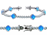 Original Star K High End Tennis Bracelet With 6pcs 7mm Cushion Cut Created Blue Opal