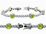 Original Star K™ High End Tennis Bracelet With 6pcs 7mm Genuine Heart Peridot style: 308148