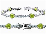 Original Star K™ High End Tennis Bracelet With 6pcs 7mm Genuine Heart Peridot style: 308148