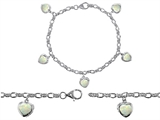 Original Star K™ High End Tennis Charm Bracelet With 5pcs 7mm Heart Shape Created Opal