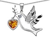 Star K™ Peace Love Dove Pendant Necklace with 7mm Heart Shape Simulated Citrine style: 308151