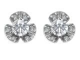 Original Star K™ Flower Earrings With Round 5mm Cubic Zirconia style: 308152
