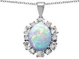 Original Star K Large Oval Created Opal Pendant