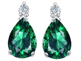 Tommaso Design™ 8x6mm Pear Shape Simulated Emerald And Genuine Diamond Drops Earrings style: 308154