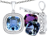 Switch-It Gems Interchangeable Simulated Aquamarine Pendant Set with 12 Cushion Cut 10mm Birthstones Included