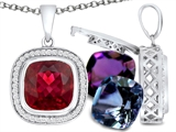 Switch-It Gems Interchangeable Simulated Ruby Pendant Set with 12 Cushion Cut 10mm Birthstones Included