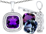 Switch-It Gems Interchangeable Simulated Amethyst Pendant Set with 12 Cushion Cut 10mm Birthstones Included