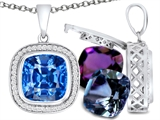 Switch-It Gems Interchangeable Simulated Blue Topaz Pendant Set with 12 Cushion Cut 10mm Birthstones Included