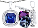 Switch-It Gems Interchangeable Simulated Sapphire Pendant Set with 12 Cushion Cut 10mm Birthstones Included