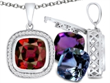 Switch-It Gems Interchangeable Simulated Garnet Pendant Set with 12 Cushion Cut 10mm Birthstones Included