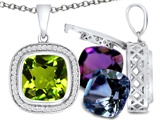 Switch-It Gems Interchangeable Simulated Peridot Pendant Set with 12 Cushion Cut 10mm Birthstones Included