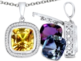 Switch-It Gems Interchangeable Simulated Citrine Pendant Set with 12 Cushion Cut 10mm Birthstones Included