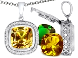 Switch-It Gems Interchangeable Simulated Citrine Pendant Set with 12 Cushion Cut 12mm Birthstones Included