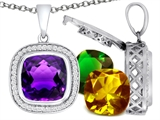 Switch-It Gems Interchangeable Simulated Amethyst Pendant Set with 12 Cushion Cut 12mm Birthstones Included
