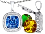 Switch-It Gems Interchangeable Simulated Blue Topaz Pendant Set with 12 Cushion Cut 12mm Birthstones Included