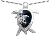 Star K™ Large Mother and Baby Turtle family Pendant Necklace with Pear Shape Simulated Sapphire style: 308183