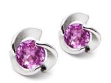 Original Star K™ Round Created Pink Sapphire Flower Earrings Studs style: 308186