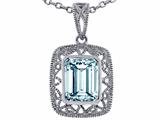 Star K™ Emerald Cut Simulated Aquamarine Pendant Necklace style: 308189