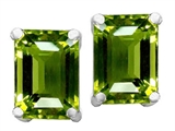 Original Star K 8x6mm Emerald Cut Simulated Green Tourmaline Earrings