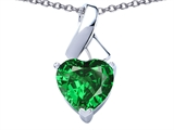 Original Star K™ 8mm Heart Shape Simulated Green Tsavorite Garnet Ribbon Pendant