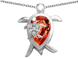 Star K™ Large Mother and Baby Turtle family Pendant Necklace with 12x8mm Pear Shape Simulated Mexican Fire Opal style: 308209