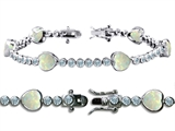 Original Star K High End Tennis Bracelet With 6pcs 7mm Heart Created Opal