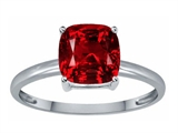 Tommaso Design™ Created Ruby 7mm Cushion Cut Solitaire Engagement Ring