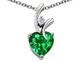 Original Star K™ Heart Shape 8mm Simulated Green Tsavorite Garnet Pendant style: 308220