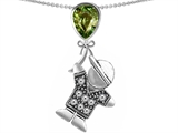 Original Star K™ Little Boy Holding a Balloon Mother Birthstone Simulated Green Tourmaline Pendant