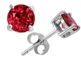 Original Star K Round 7mm Created Ruby Earring Studs