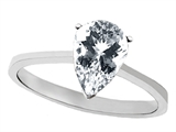 Tommaso Design™ Genuine White Topaz Pear Shape 8x6mm Solitaire Engagement Ring