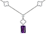 Original Star K Emerald Cut Simulated Amethyst Necklace