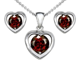 Original Star K Simulated Garnet Heart Earrings with Free Box Set matching Pendant