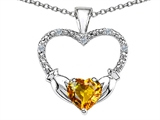 Celtic Love by Kelly™ Hands Holding your Heart Genuine Citrine and Diamond Claddagh Pendant