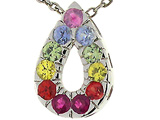 Tommaso Design Rainbow Sapphire Drop Pendant with 11 Genuine Multi Color Sapphires