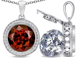 Switch-It Gems 2in1 Round 10mm Simulated Garnet Pendant with Interchangeable Simulated Diamond Included