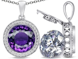 Switch-It Gems™ 2in1 Round 10mm Simulated Amethyst Pendant with Interchangeable Simulated Diamond Included