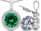 Switch-It Gems™ 2in1 Round 10mm Simulated Emerald Pendant with Interchangeable Simulated Diamond Included