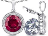 Switch-It Gems 2in1 Round 10mm Simulated Ruby Pendant with Interchangeable Simulated Diamond Included