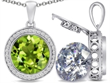 Switch-It Gems™ 2in1 Round 10mm Simulated Peridot Pendant with Interchangeable Simulated Diamond Included