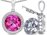 Switch-It Gems 2in1 Round 10mm Simulated Pink Tourmaline Pendant with Interchangeable Simulated Diamond Included