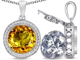 Switch-It Gems 2in1 Round 10mm Simulated Citrine Pendant with Interchangeable Simulated Diamond Included