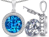 Switch-It Gems 2in1 Round 10mm Simulated Blue Topaz Pendant with Interchangeable Simulated Diamond Included